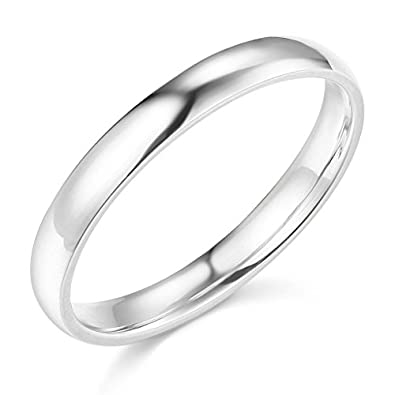 14k white gold 3mm solid plain wedding band size 4