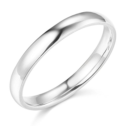 14k White Gold 3mm SOLID COMFORT FIT Plain Wedding Band – Size 4