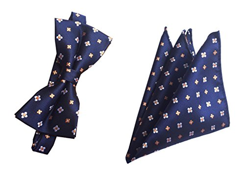 Men Navy Blue Woven Bow Tie Set Handkerchief Flower Neckwear Dress Bowtie Dinner