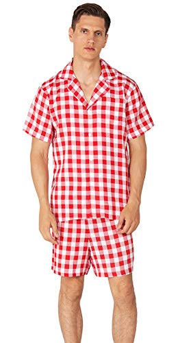 (YIMANIE Men's Pajama Set Soft Cotton Short Sleeves and Shorts Classic Plaid Sleepwear Lounge Set Red)