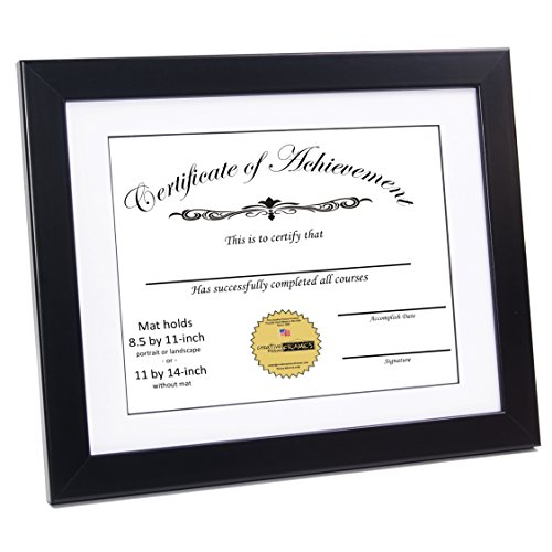 CreativePF [ZXK7-11x14bk-w] Black Document Frame Displays 8.5 by 11-inch with Mat or 11 by 14-inch Certificate, Graduation, University, Diploma Frames with Stand & Wall Hanger - 14bk Satin