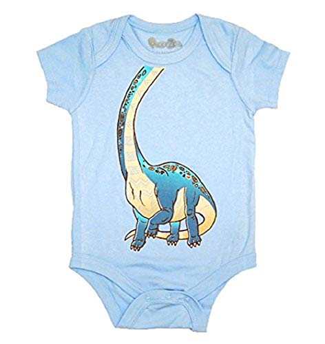 Peek-A-Zoo Infant Baby Become an Animal Short Sleeve Onesie Bodysuit - Brachiosaurus Blue (18/24 -