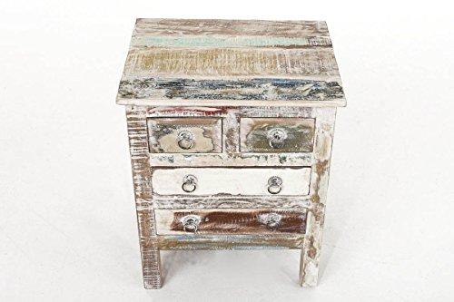 0ea18e91010fde CLP teck Table de chevet NIRVANA, avec 4 tiroirs, 50 x 45 cm-Hauteur   cm  60 cm Multicolore  Amazon.fr  Cuisine   Maison