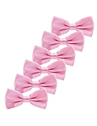 6PCS Boys Children Formal Bow Ties - Adjustable Solid Color Pre Tied Bowties (Pink)