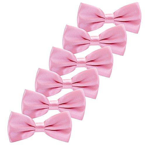 Boys Children Formal Bow Ties - 6 Pack of Solid Color Adjustable Pre Tied Bowties(Pink) ()