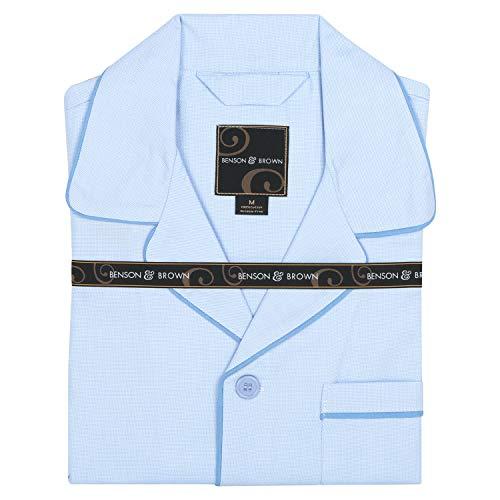 Benson & Brown Woven Cotton Mens Pajamas Sleepwear Set (Large, Light Blue) ()