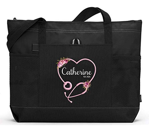 Personalized Nurse with Heart Stethoscope, CNA, RN, LPN Tote Bag with Mesh Pockets, Custom Printed
