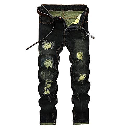 POQOQ Men's Regular-Fit 5-Pocket Jean Heavyweight Cotton Denim Work Pants 13MWZ Cowboy Cut Original Fit Jean 38 Green