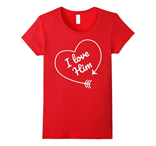 Cute Outfits For Couples (Womens I love Him Matching Couple Shirts Outfits for Cute Couples Large Red)