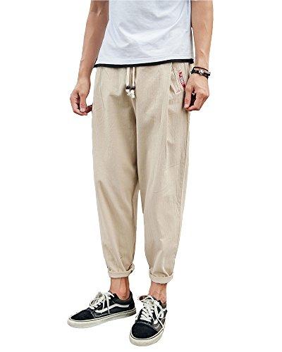Pantalones Entrepierna Harem Caída para Bcagados Holgados Cinturón Caqui De Cómodo Pantalones Elástico DianShaoA Hombres dnwZFd