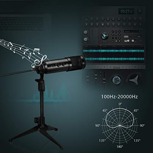 USB Microphone for Computer, NASUM Desktop Podcast Microphone with Adjustable Metal Tripod Stand, Condenser Recording Microphone for Gaming, Broadcasting, Chatting, YouTube,Plug & Play.