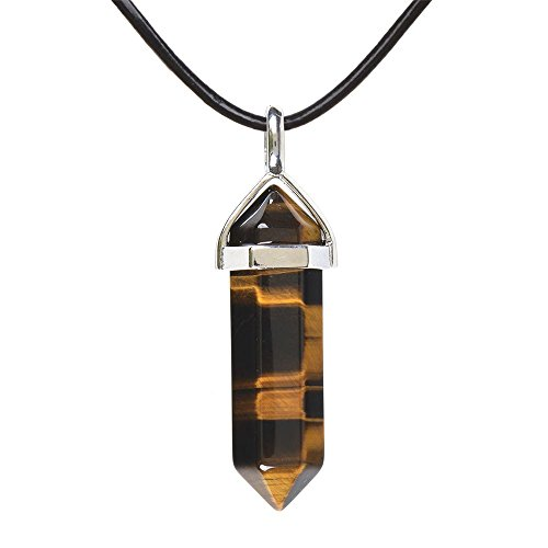 Natural Golden Tiger Eye Gemstone Hexagonal Pointed Reiki Chakra Pendant Genuine Leather Necklace 18