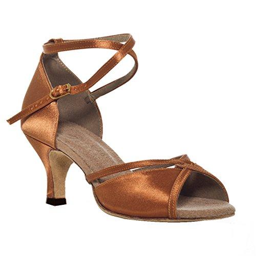 Misu Womens Peep Toe Sandals Latin Salsa Tango Practice Ballroom Dance Shoes With 3.3 Heel d2ypTR