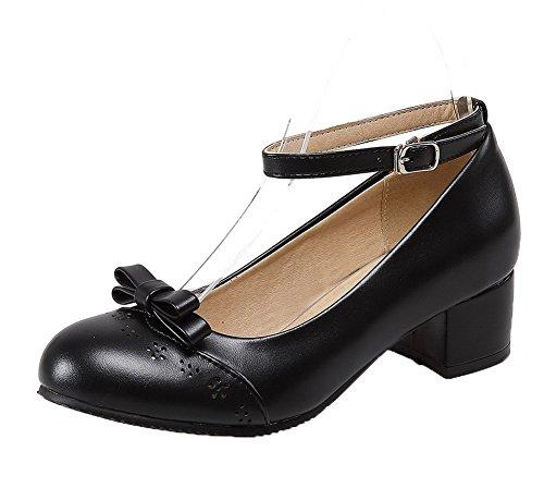 Microfibra Negro Hebilla con Zapatos Mini Mujeres Tacón Tacón AgooLar de p5qfUTw