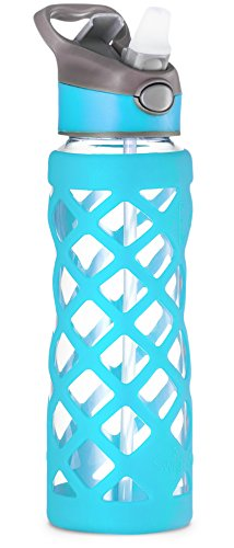SWIG SAVVY 25oz Glass Water Bottle - Protective Silicone Sleeve With 3 Interchangeable Leak-proof Caps Sleek, Durable & Stylish – PBA Free – Break Resistant Borosilicate Glass (Blue, 1 (Free Water Bottle)