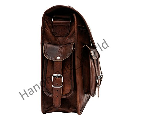 Handmade_world Leather Messenger Bag Brown 18 Inch Air Cabin Briefcase Leather Cross Body Shoulder Large Laptop School Bag by Handmade_world (Image #6)