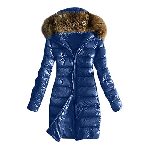 E-Scenery Women Coats, Outwear Quilted Winter Warm Fur Collar Hooded Thicken Jacket Tops Blue (Tan Trench Coat With Hood)