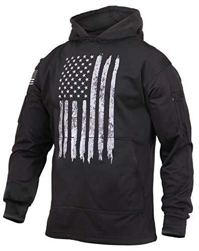 Rothco Distressed US Flag Concealed Carry Hooded Sweatshirt, M Black