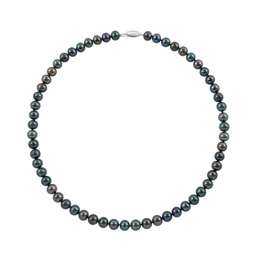Sterling Silver 5.5-6.0mm Black Cultured Freshwater Pearl Strand Necklace,16