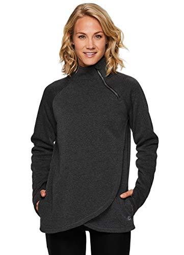 RBX Active Women's Zip Mock Neck Long Sleeve Fleece Pullover Sweatshirt F19 Charcoal M