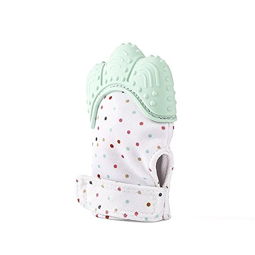 INCHANT Baby Teething Glove Silicone Teether Mitten for Sore Gums & Self-Soothing Pain Relief - with a travel bay, Mint Green, 1 ()