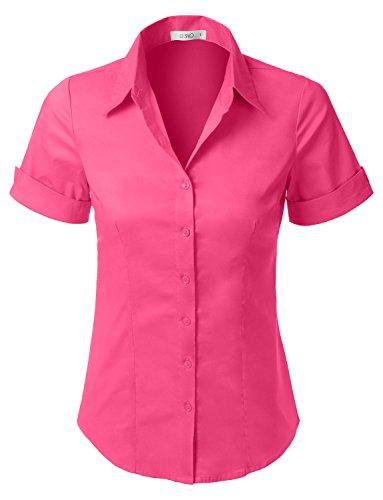 Button Down Tailored Work Shirt (LE3NO Womens Tailored Short Sleeve Button Down Shirt with Stretch,L3nwt575a_fuchsia,Small)