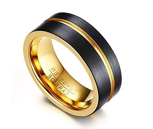 Campton Thin Gold Color Line Rings for Men 8MM Black Tungsten Carbide Fashion Jewelry | Model RNG - 1197 | 10