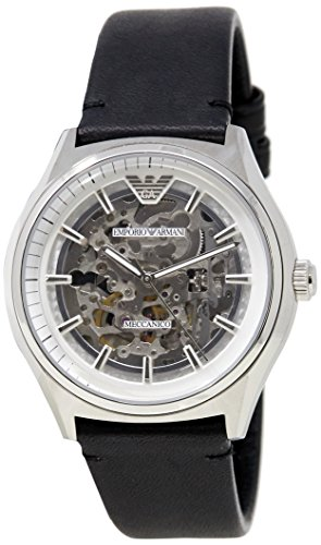 Emporio Armani Men's 'Dress Japanese Automatic Stainless Steel and Leather Casual Watch, Color:Black (Model: AR60003)