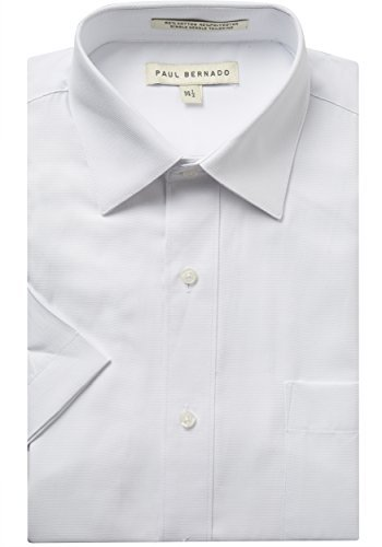 Paul Bernado Mens 1951 Short Sleeve Pique Design Dress Shirt - White- 18
