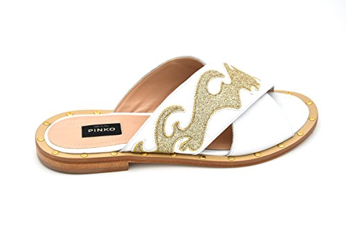 SAGRANTINO SHOES ORO PINKO 35 1P20Y5 SLIDES SANDAL BIANCO WOMAN GOLD LEATHER Y3FR FLATS MULES WHITE qSZBzXS