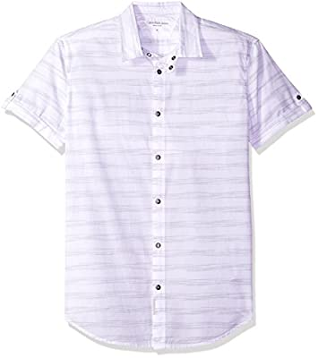 Calvin Klein Jeans Men's Short Sleeve Roll Tab Horizontal Space Stripe Button Down Shirt