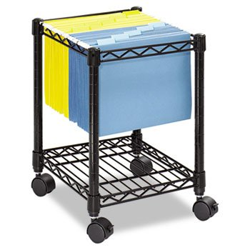 Compact Mobile Wire File Cart, 1-Shelf, 15-1/2w x 14d x 19-3/4h, Black by Safco