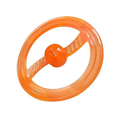 Rubber Frisbee Flying Dog Frisbee Toy Easy Catch Dog Flyer with Treat IQ Hole Tug of War Toys - Orange