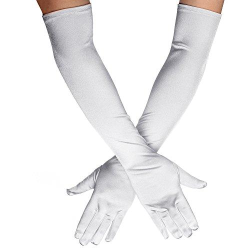 QNPRT 1920s Opera Satin Long Gloves 19.5