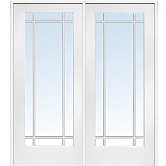 Superbe National Door Company Z009312R Primed MDF 9 Lite Clear Glass, Right Hand  Prehung Interior Double