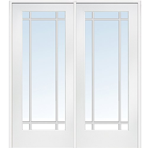 National Door Company Z009312R Primed MDF 9 Lite Clear Glass, Right Hand  Prehung Interior Double