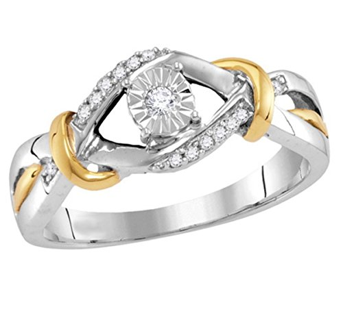 10K Gold And Silver Diamond Promise Ring Engagement Ring Two Tone 1/10ctw (i2/i3, I/j)