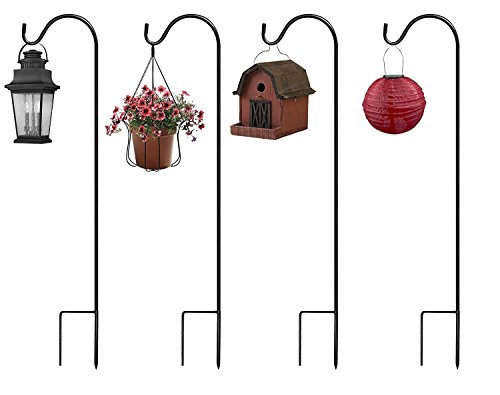 Sorbus® Shepherd's Hooks - Set of 4 Extendable Garden Planter Stakes for Bird Feeders, Outdoor Décor, Plants, Lights, Lanterns, Flower Baskets, and More! Heavy Duty (4 Pack) (Metal Bird Garden Stakes)