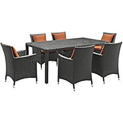 Modway EEI-2271-CHC-TUS-SET Sojourn (7 Piece) Outdoor Patio Sunbrella Dining Set, Canvas Tuscan