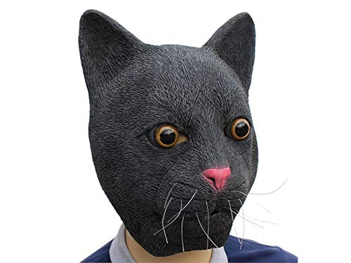 Hezon Happy Festival Funny Latex Cat Head Halloween Mask Masquerade Tricky Mask Head Cover (Black)