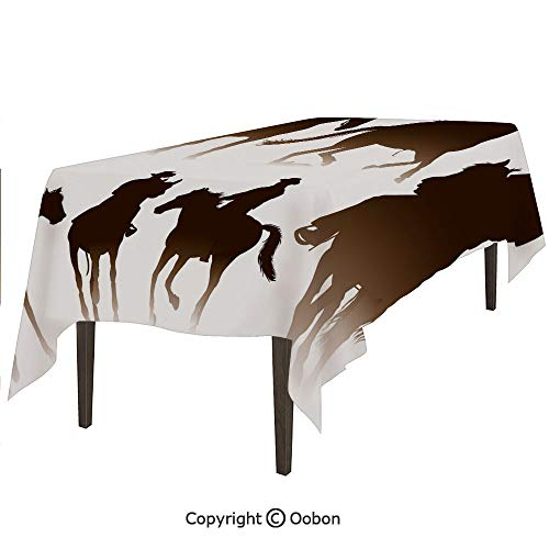 oobon Space Decorations Tablecloth, Collection of Horseback Riding Silhouettes Bridle Ranch Stallion Equestrian Theme Decorative, Rectangular Table Cover for Dining Room Kitchen, W60xL102 inch