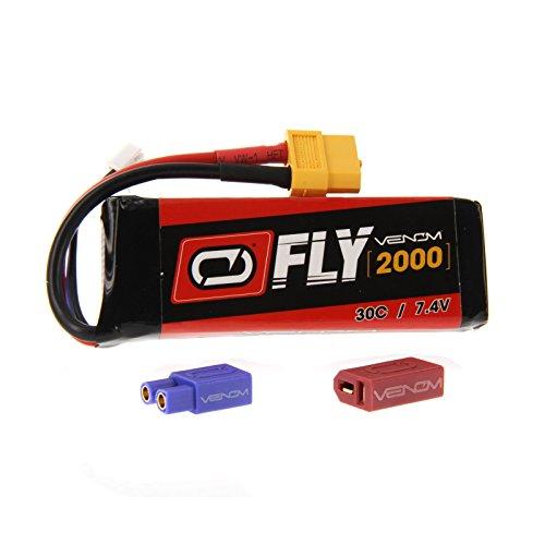 Venom Fly 30C 2S 2000mAh 7.4V LiPo Battery with UNI 2.0 Plug (XT60/Deans/EC3) - Compare to E-flite (Venom Plug)