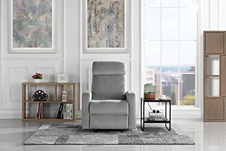 Overstuffed Sleek Modern Living Room Linen Fabric Recliner Chair (Grey)