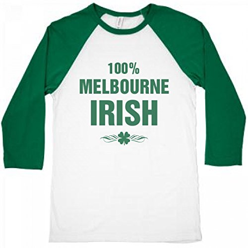 FUNNYSHIRTS.ORG 100% Melbourne Irish St. Patrick's Day: Unisex 3/4 Sleeve Raglan - Melbourne Shop Irish
