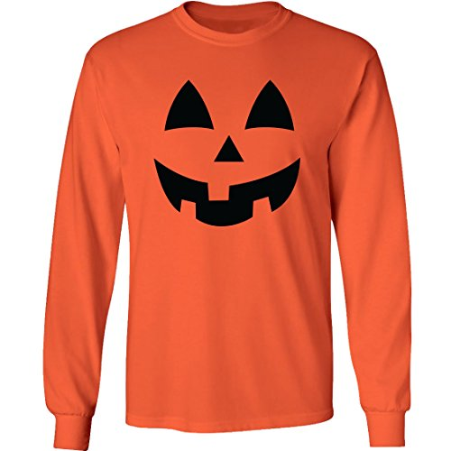 Adult Jack-O-Lantern Halloween Pumpkin Face Long Sleeve T-Shirt in Orange - Large -