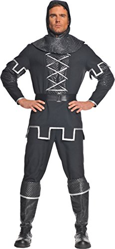 Shining Costumes In Armor Adult Knight (Underwraps Men's Plus-Size Knight, Black/Silver,)