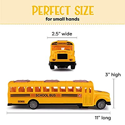 Hoovy School Bus Toys, Yellow Playtime Bus Toy Interactive with Flashing Lights and Sounds, Bump and Go Action, Great Gift for Kids (School Bus): Toys & Games