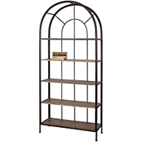 Creative Co-op DE2765 Metal Frame Arched Bookshelf with Wood Shelves
