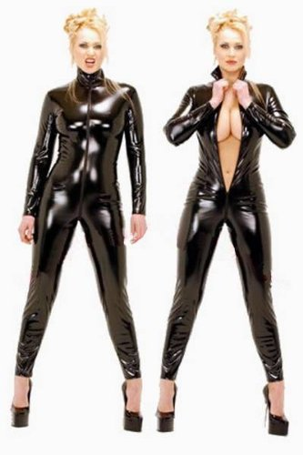 Fashion Queen Women's Costume Sexy Faux Leather 2 Way Zip Catsuit Plus Size (3XL, (Plus Size 70's Costumes Uk)