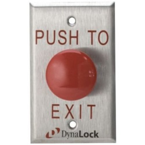 1-5//8 Diameter DynaLock 6000 Series Plastic Single Gang Time Delay Mushroom NFPA 101 Pushbutton Pack of 1 Red LegendPUSH TO EXIT
